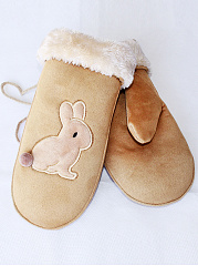 Bunny Fleece Thick Mittens
