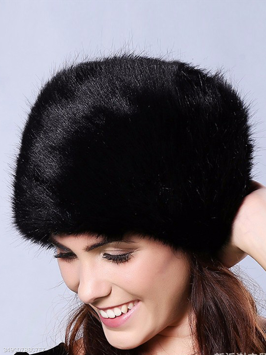 Winter Fashion Faux Fur Plain Hats
