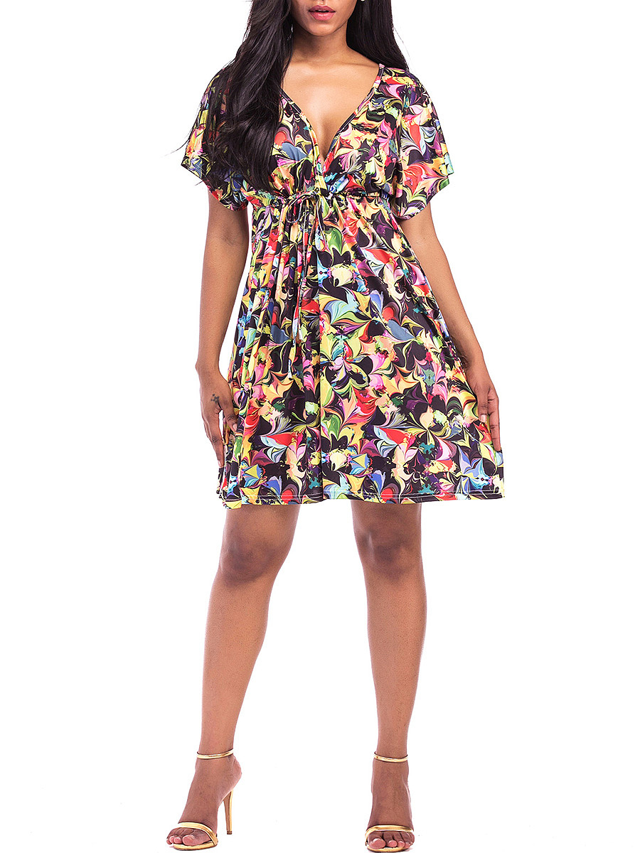 Deep V-Neck Empire Elastic Waist Printed Skater Dress