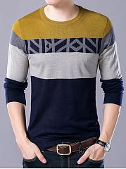 Modern-Color-Block-Round-Neck-Men-Sweater