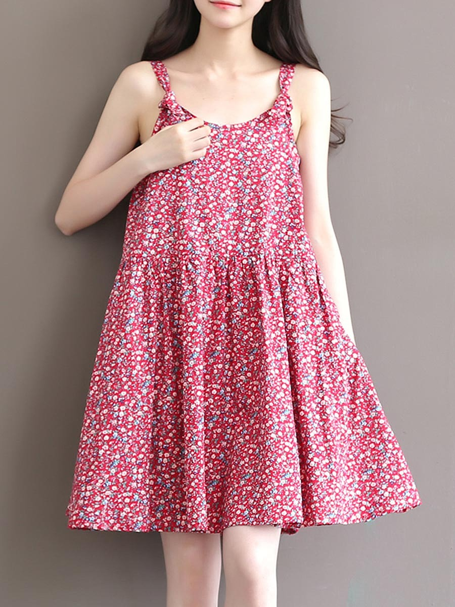 Spaghetti Strap Floral Printed Skater Dress