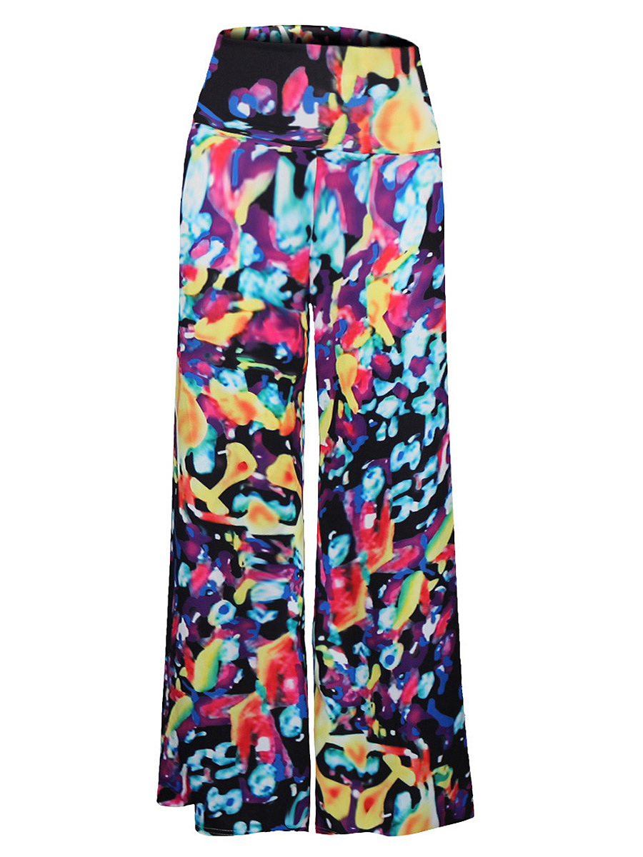 Fantastic Printed  Wide-Leg  High-Rise Casual Pants