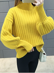 High Neck  Plain Striped  Puff Sleeve  Long Sleeve Sweaters Pullover