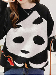 Round Neck  Animal Prints Pullover