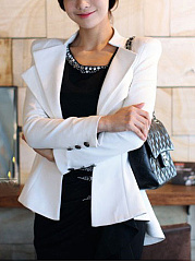 Lapel Single Button Peplum Plain Blazer