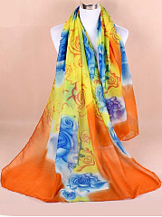 Women Gradient Floral Printed Yarn Scarves Flower Voile Shawls
