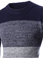 Round Neck Gradient Striped Men'S Sweater
