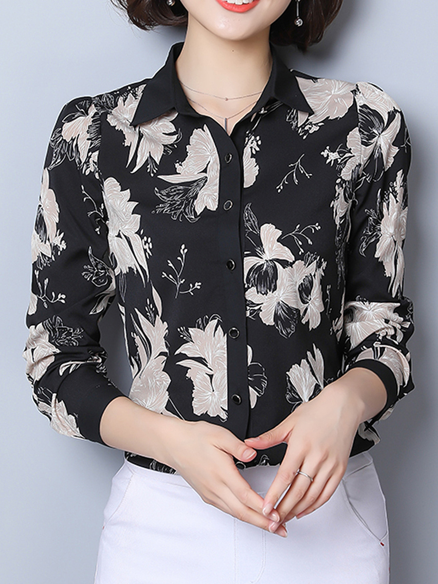 Floral Printed Chiffon Long Sleeve Blouse