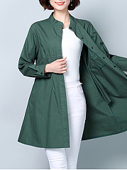 Band Collar  Plain  Long Sleeve Trench Coats
