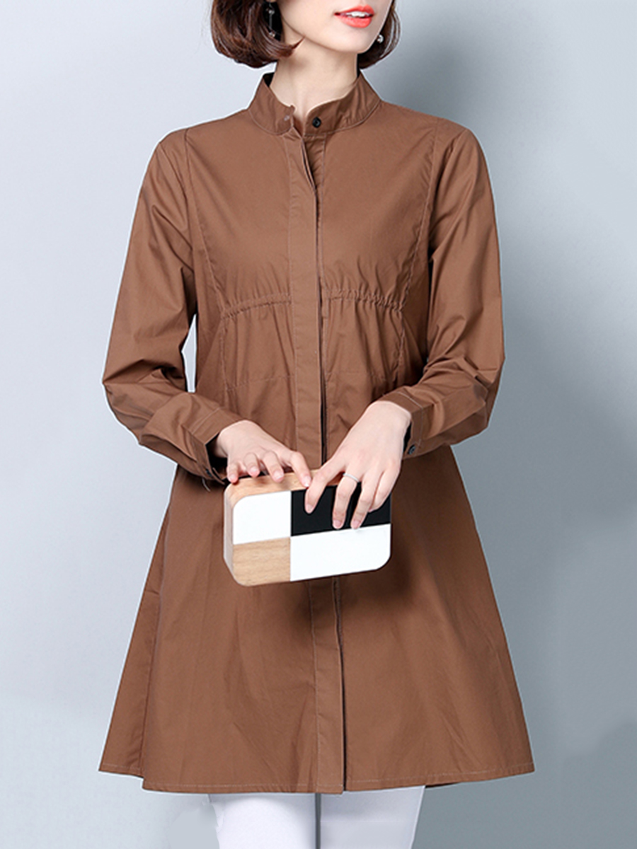 casual plain autumn spring Band Collar  Plain  Long Sleeve Trench Coats