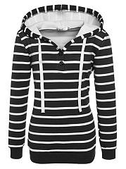 Casual Drawstring Striped Hoodie