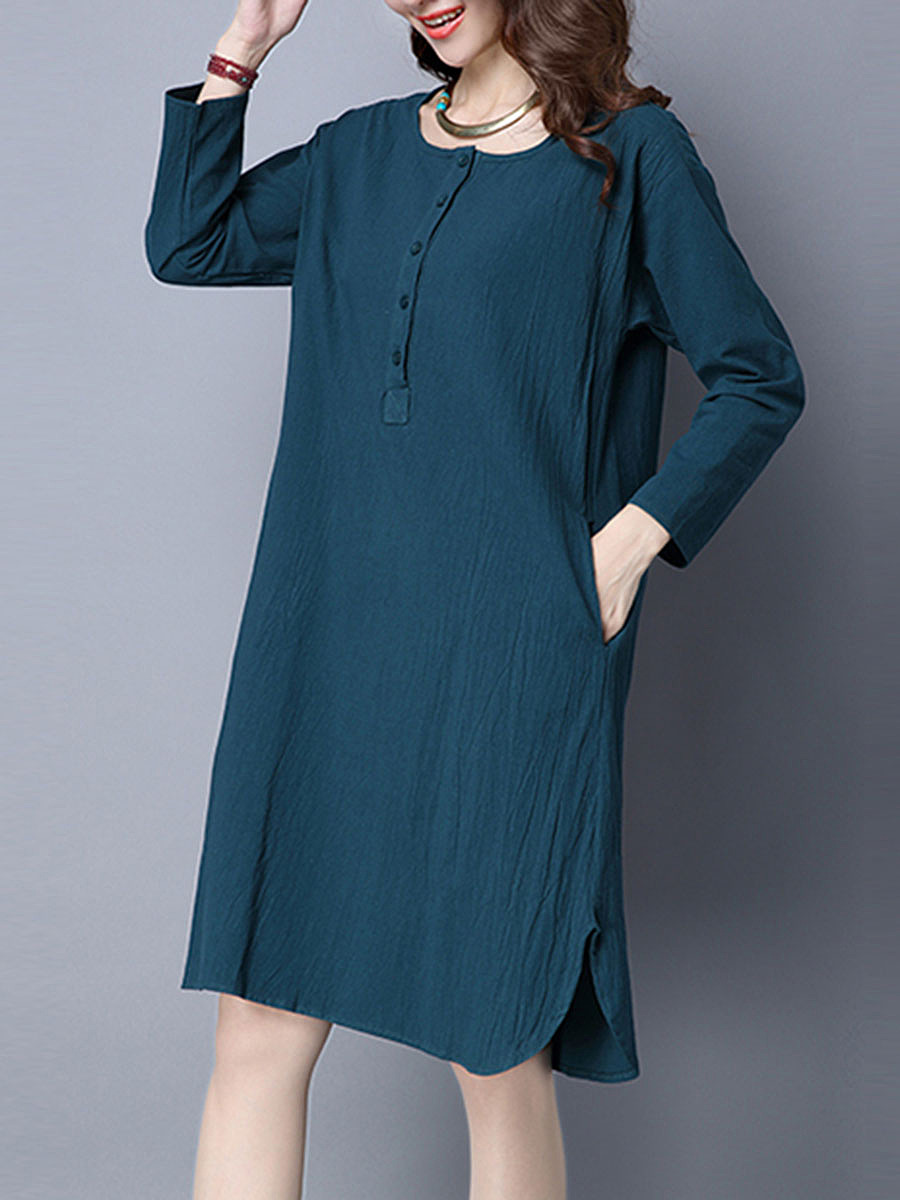 Round Neck Long Sleeve Plain Pocket Shift Dress