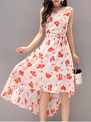 Round Neck Bowknot Floral Printed High-Low Skater Dress