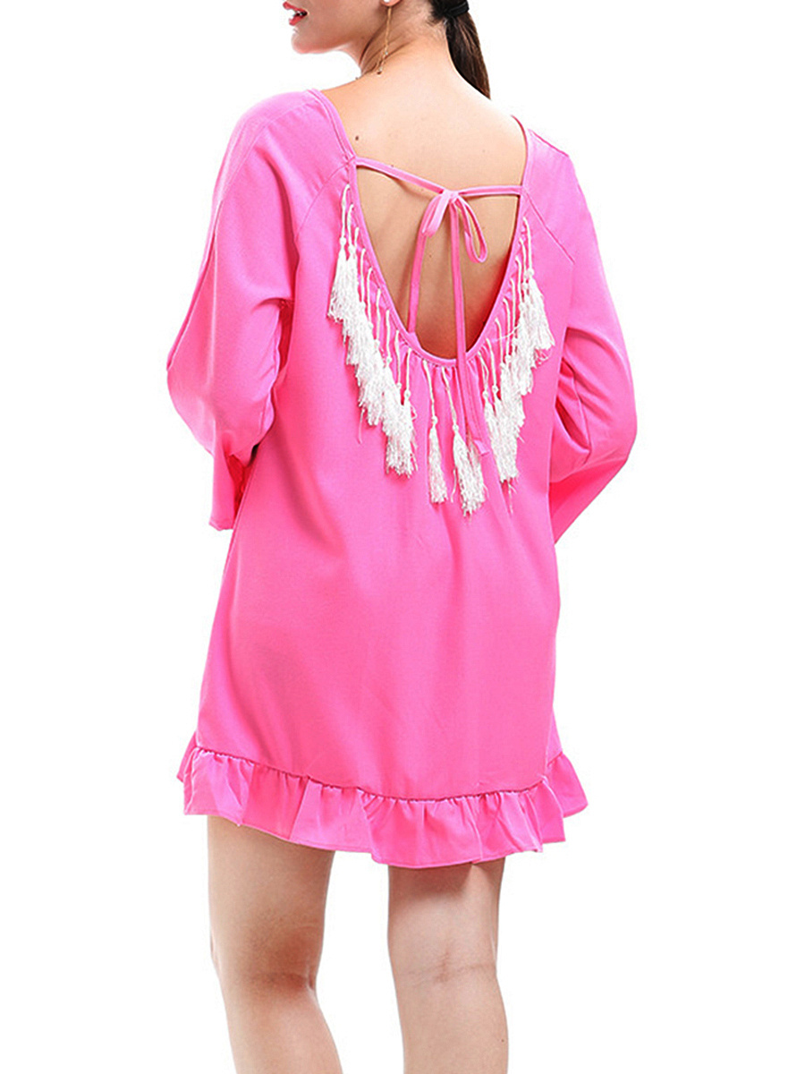 Round Neck Ruffled Hem Tassel Plain Shift Dress