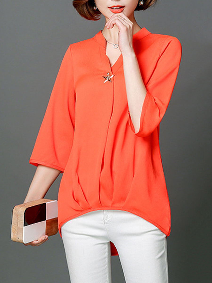 Split Neck Plain High-Low Blouse
