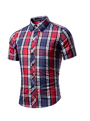Short Sleeve Basic Turn Down Collar Single Breasted Plaid Men Shirt