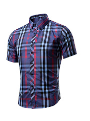Short-Sleeve-Basic-Turn-Down-Collar-Single-Breasted-Plaid-Men-Shirt