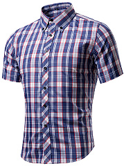 Turn Down Collar  Single Breasted  Plaid  Short Sleeve Short Sleeves