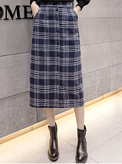 Cutout-Single-Breasted-Single-Button-Plaid-A-Line-Midi-Skirts