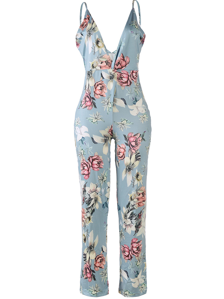Sexy Spaghetti Strap Floral Printed Straight Jumpsuit