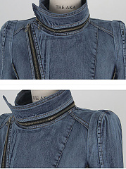 Lapel Zips Denim Light Wash Jacket