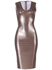 Sexy Scoop Neck Plain Bodycon Dress