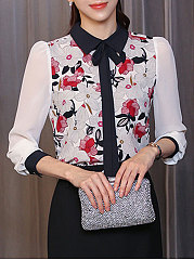 Autumn Spring  Chiffon  Women  Doll Collar  Bowknot  Floral Printed  Long Sleeve Blouses