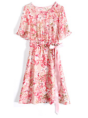 Round Neck  Floral Printed  Bell Sleeve Shift Dress