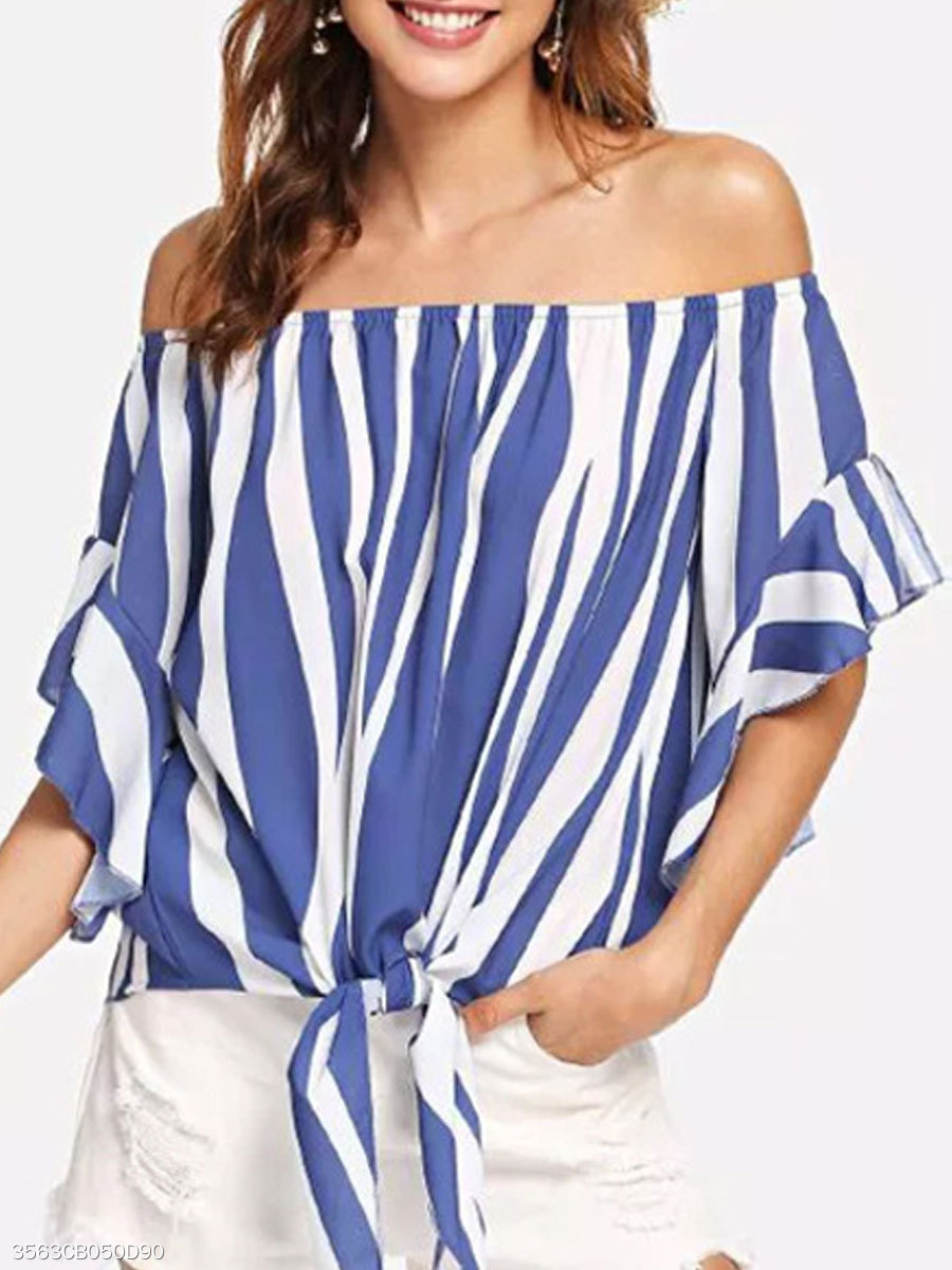 Spring Summer  Cotton Polyester  Women  Off Shoulder  Striped  Petal Sleeve  Half Sleeve Blouses