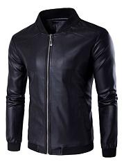 Band-Collar-Pocket-Plain-Men-PU-Leather-Jacket