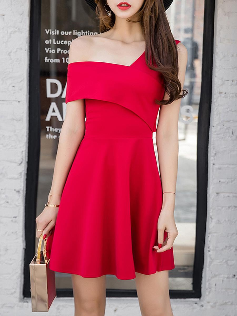 One Shoulder Plain Mini Skater Dress