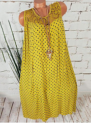 Round Neck  Lace Polka Dot Shift Dress