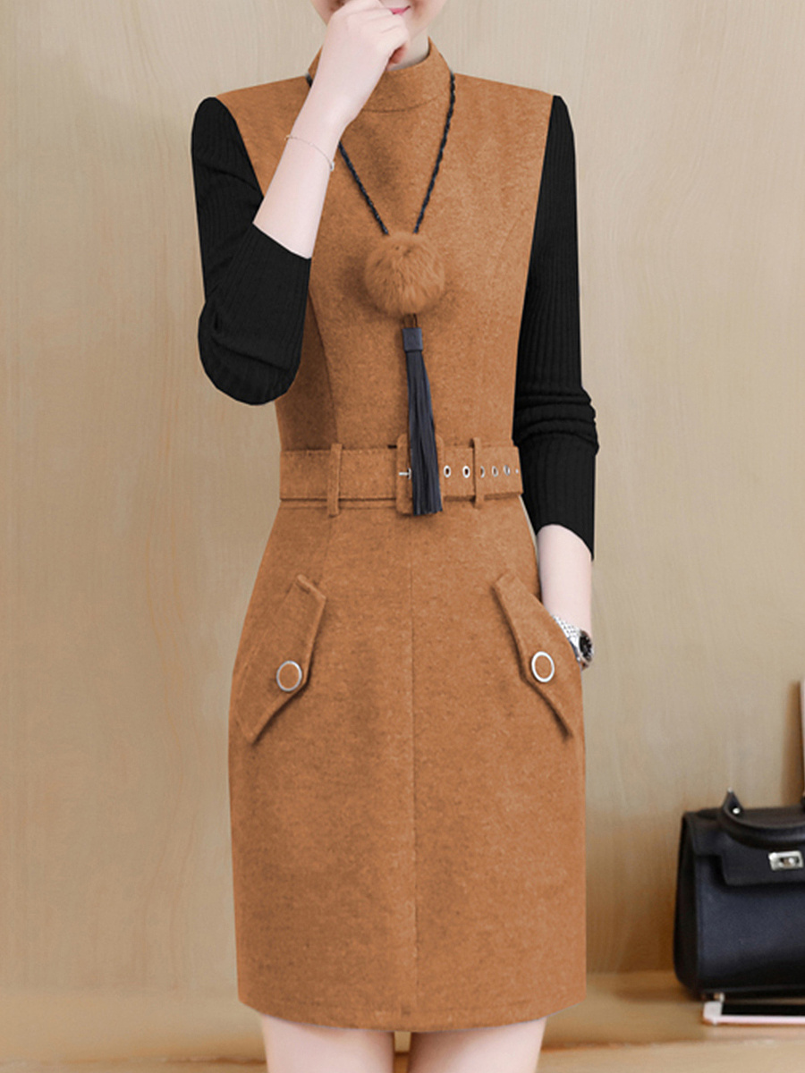 Crew Neck  Belt  Color Block  Woolen Bodycon Dresses