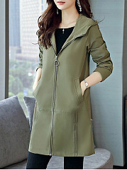Zips  Plain  Long Sleeve Trench Coats