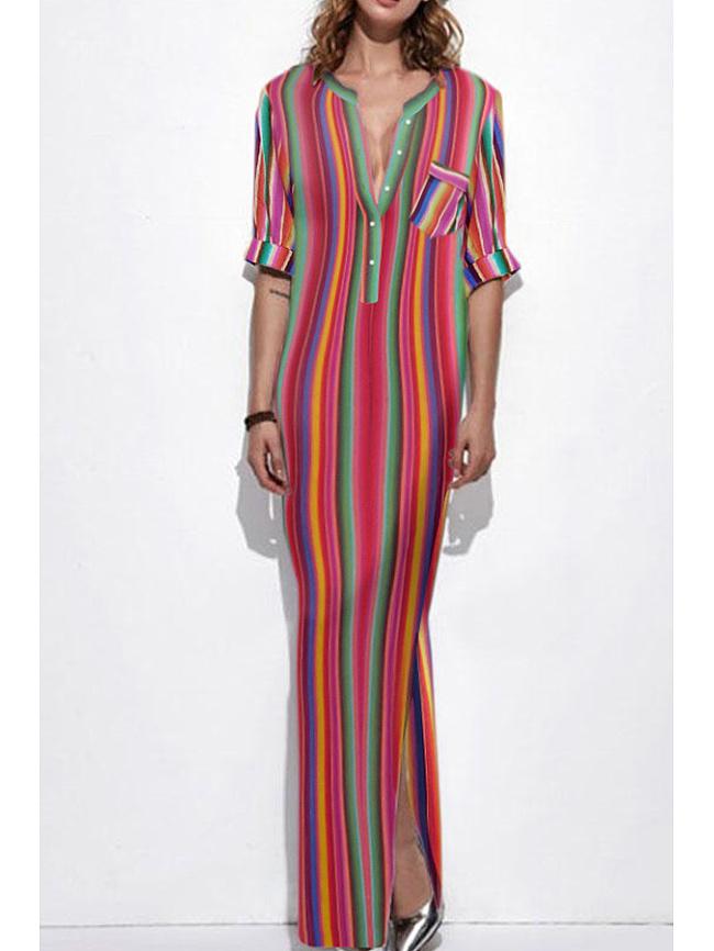 Image of Fashionmia Band Collar Plain Raglan Sleeve Maxi Dresses