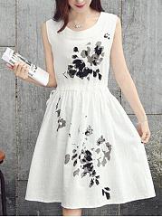 Round-Neck-Drawstring-Printed-Casual-Skater-Dress