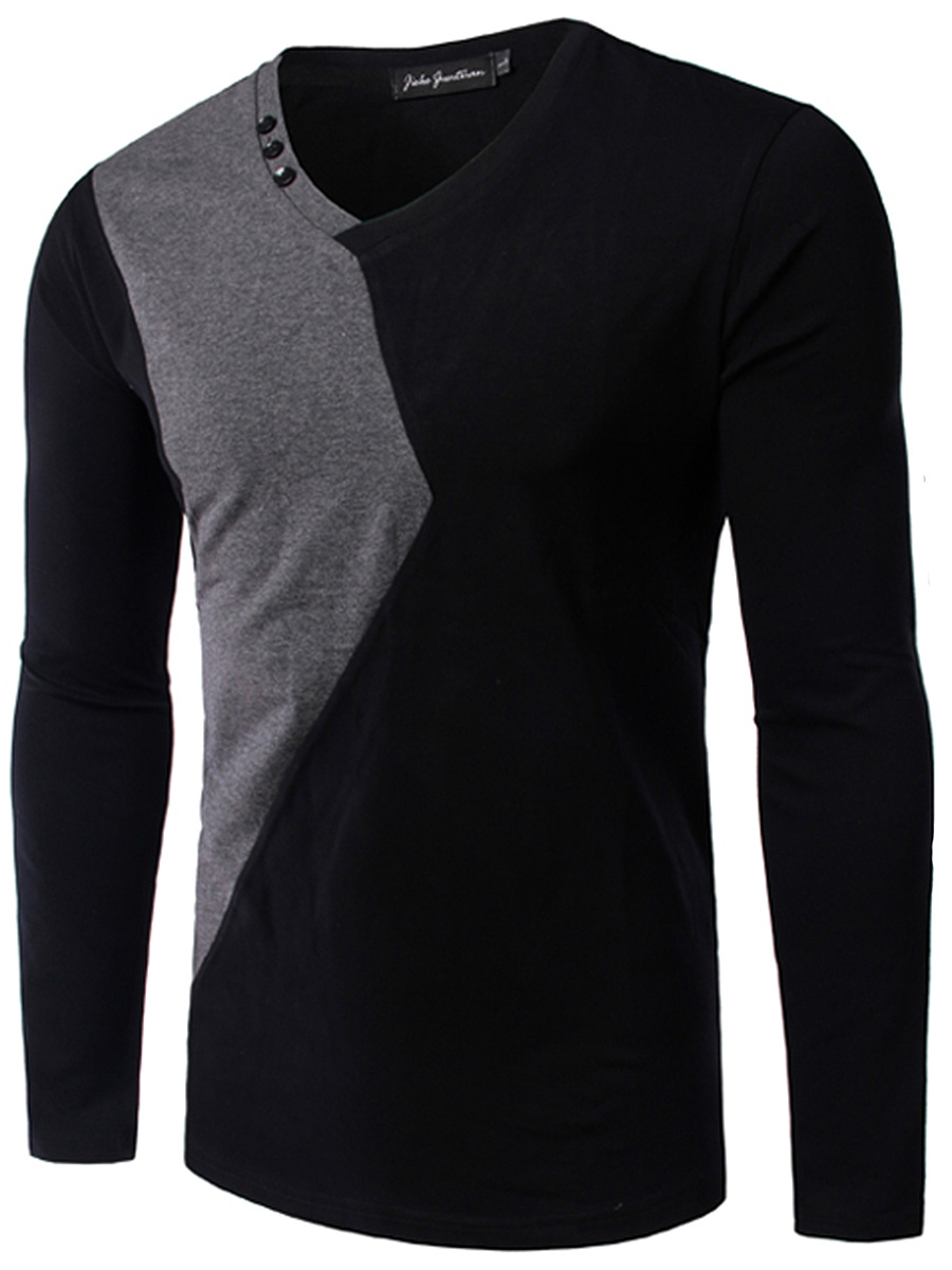 V-Neck Color Block Men T-Shirt
