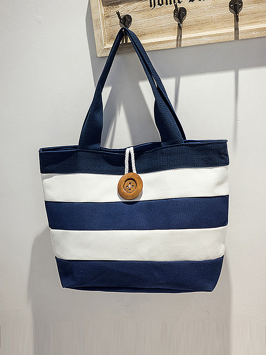 Canvas Color Block Striped Hand Bags