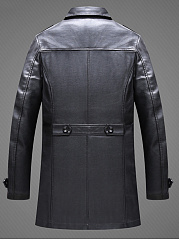 Lapel Pocket Plain PU Leather Men Coat