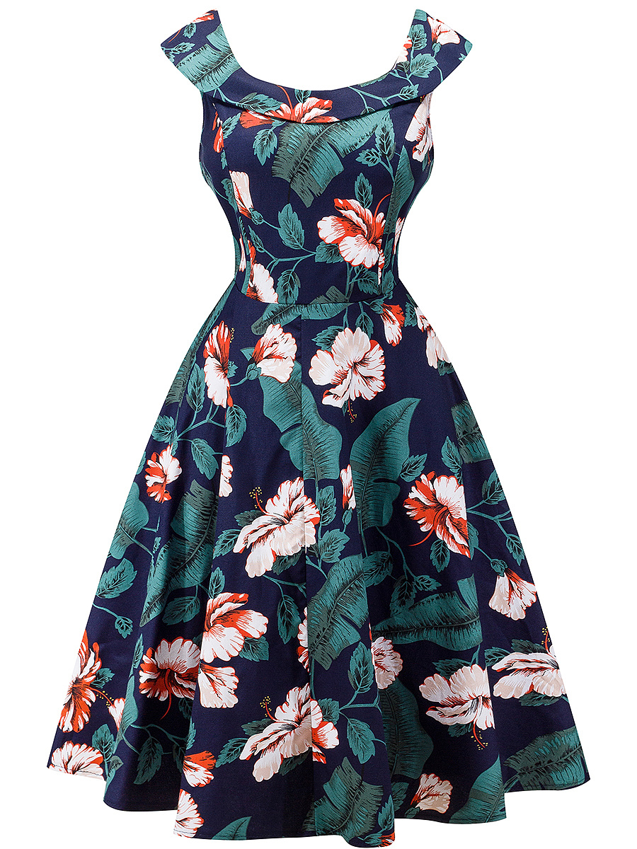 Round Neck  Ruffled Hem  Bust Darts  Printed  Cotton Skater Dress