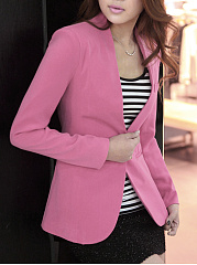 Collarless Single Button Plain Blazer