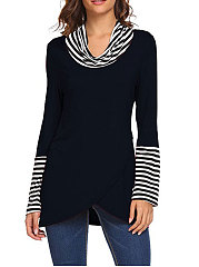 Cowl Neck  Asymmetric Hem Patchwork  Striped Long Sleeve T-Shirts