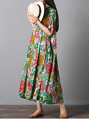 Oversized Band Collar Floral Printed Pocket Maxi Dress