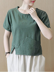 Summer  Cotton  Women  Round Neck  Patch Pocket Slit  Plain  Short Sleeve Blouses