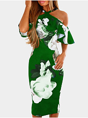 Halter  Floral Bodycon Dress