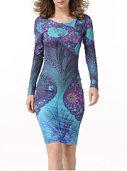 Round Neck Printed Charming Bodycon Dress