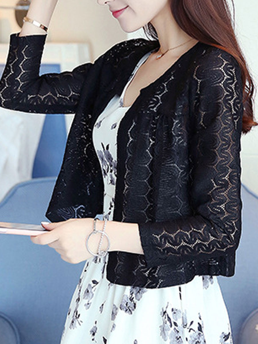 Collarless  Decorative Lace See-Through  Hollow Out  Long Sleeve Cardigans 35C5B20CE4FB