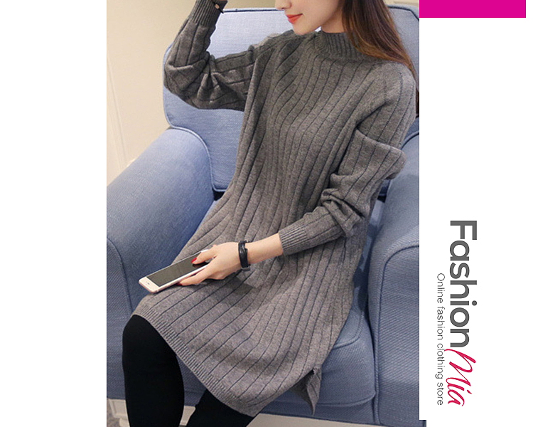 style:fashion, material:knit, collar&neckline:band collar, sleeve:long sleeve, pattern_type:plain, length:midi, how_to_wash:cold gentle machine wash, supplementary_matters:all dimensions are measured manually with a deviation of 2 to 4cm., occasion:basic*casual, season:autumn*winter, dress_silhouette:shift, package_included:dress*1, shoulderbust