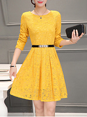 Round Neck  Belt  Plain  Lace Skater Dress
