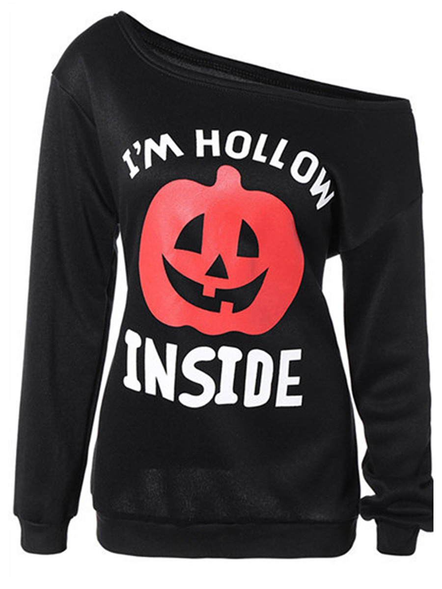 One Shoulder Halloween Pumpkin Printed Long Sleeve T-Shirt